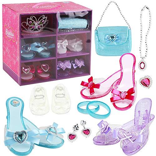 deAO Princess Schuh- und Schmuckboutique mit 4 Paar Schuhen, Armbändern, Halskette, Tasche, Ohrringen und Schmetterlingsform Kronen-Tiara inklusive