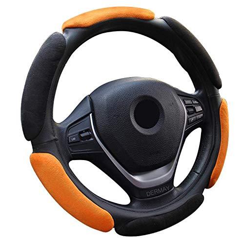 Ablaze Jin anti-slip stuur-Wiel cover met 3D-ontwerp/Flocking Clothcar stuurwiel vlecht diameter 38Cm voor 95% auto