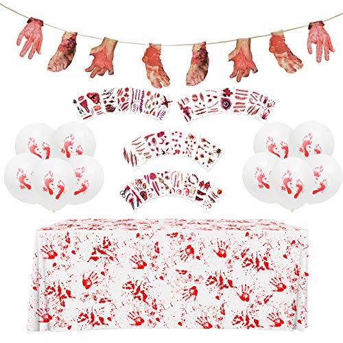 ZERHOK 42Stk Halloween Dekoration Set, Blutige Tischdecke Abgetrennte Hände Füße Banner Horror Tattoo Aufkleber für Halloweenparty Spukhaus Deko Horror Party Gruslig Karneval Requisiten