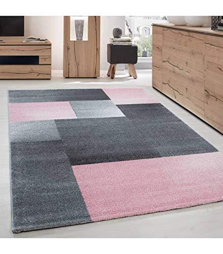 Carpettex Teppich Tapis de Salon Moderne Designe Courte Pile Optique Bloc Gris Rose - 160x230 cm