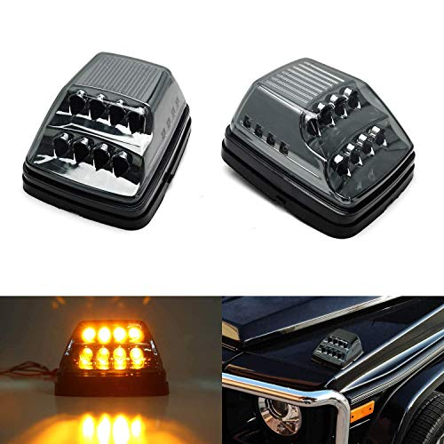 iJDMTOY Smoked Lens Amber LED Front Turn Signal Lamps Compatible With 90-up Mercedes W463 G-Class G500 G550 G600 G55 G63 AMG w/ White LED Position Lights