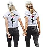 Minetom Mujeres Best Friend Camiseta Manga Corta Impresión Mejor Amiga Blusa Túnica Verano Camisa Divertidas T-Shirt Tops Regalo de Cumpleaños Rose ES 42