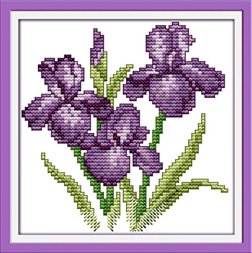 Printed Cross Stitch Kits 11CT 8X8 inch 100% Cotton Holiday Gift DIY Embroidery Starter Kits Easy Patterns Embroidery for Girls Crafts DMC Stamped Cross-Stitch Supplies Needlework Violet Flowers