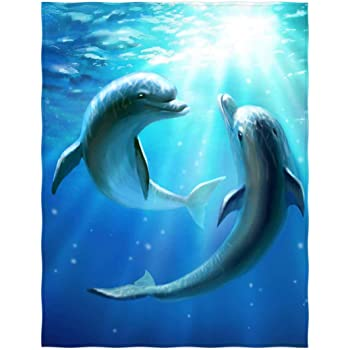 YUMOING Hooded Blanket Dolphins Sea Blanket 60x50 Inch Comfotable Hooded Throw Wrap