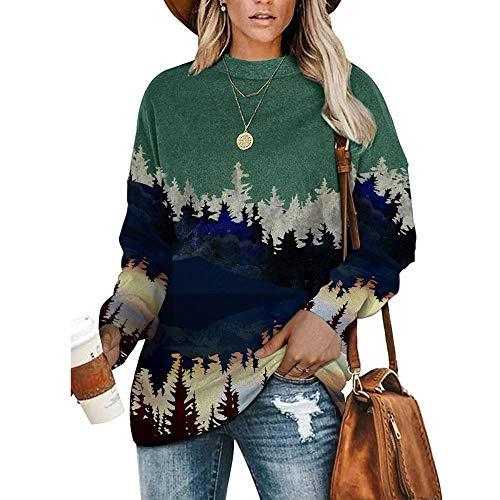 QSDM T-Shirt Girocollo a Maniche Lunghe da Donna Felpa da Donna Pullover Crew Maglione Camicetta Autunno Girocollo Manica Lunga Maglione Stampato Tinta Unita da Donna-Alberi Verdi_L