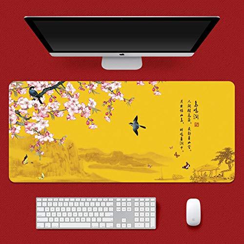 yinying Alfombrilla de ratón para Juegos,Alfombrilla de ratón Impermeable, Alfombrilla de Escritorio Retro de la Cultura China-Gufeng 25_900x400 mm_4 mm