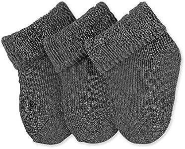 Sterntaler Primeros Calcetines Pack de 3, Edad: a partir de 0 meses, Talla: Recién nacidos (Talla 0), Gris oscuro (mezcla de antracita)