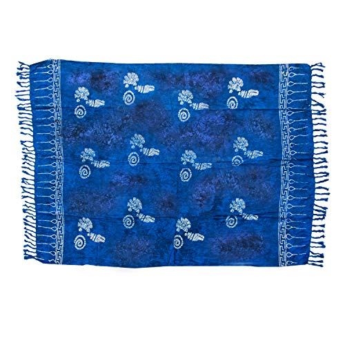 MANUMAR Damen Pareo blickdicht, Sarong Strandtuch in royal blau schwarz mit Muschel Motiv, XL Größe 175x115cm, Handtuch Sommer Kleid im Hippie Look, für Sauna Hamam Lunghi Bikini