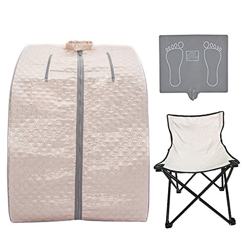 Smartmak Far Infrared Sauna, Portable Personal Full Body Detox Weight Loss SPA Tent with Heating Foot Pad Massager and Portable UPGRADE Chair (Pearl Pink)