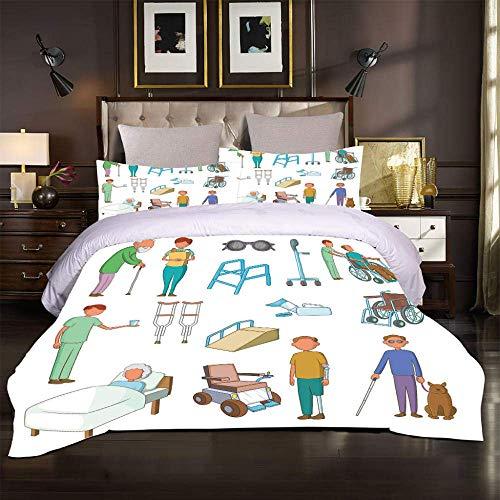 Juego de Cama 3D Bedding para Niño Adolescentes Chico Transporte cardíaco de rehabilitación hospitalaria Double(200X200 Cm), 3 Piece Set 1 Piece Quilt Cover + 2 Piece Matching Pillowcase