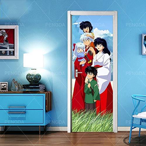 MZNVTD 3D Etiqueta De Puerta Autoadhesiva Extraíble Impermeable Personaje De Anime Césped Verde Pegatinas De Pared para Dormitorio Oficina Cuarto De Niños Arte Moderno Decoración De Hogar 77X200Cm