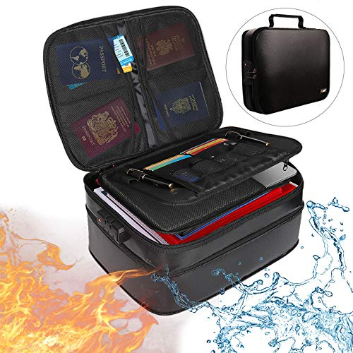 Fireproof Document Bags Adjustable Height WaterResistant Fireproof Organizer Storage Bag  Easy to Store amp Carry Travel Money Bag with Lock for Valuables Jewelry Cash Holder File and Tablet Black