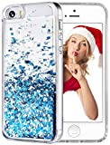 wlooo Funda para iPhone SE, Glitter liquida Cristal Silicona 3D Bling Flowing Transparente Cover Protector Suave TPU Bumper Case Brillante Arena movediza Carcasa para iPhone SE/5/5S (Azul)