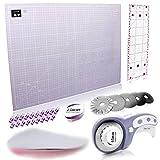 Happy Box Premium A2 Rollschneider Set Inkl. A2 Schneidematte, Rollschneider, 5 Ersatzklingen, Patchwork-Lineal + 20 Stoffklammern als Nähzubehör (Lavendel-Lila)