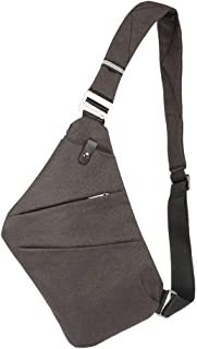 Waterproof Chest Bag Shoulder Crossbody Sling Bag with Zippered Pockets Anti Theft Large Capacity for Men (Smoke Black)