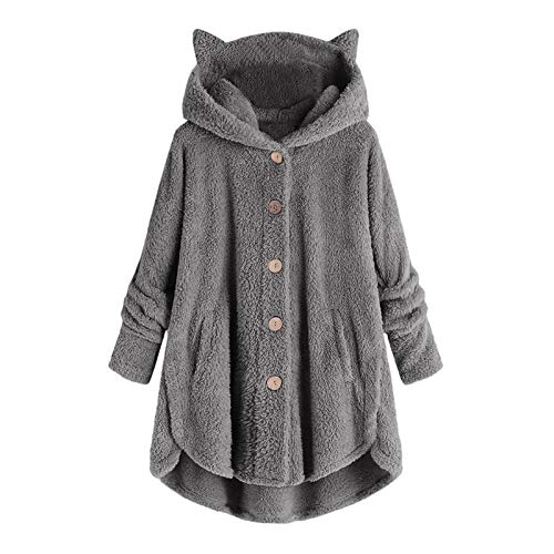 Aniywn Winter Outwear Tops For Women, Plus Size Casual Plush Pocket Button Hoodie Sweatshirt Pullover Blouse (Small, 1#Gray)