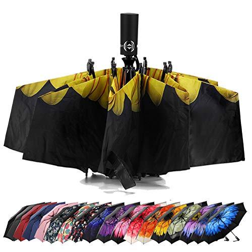 LANBRELLA Umbrella Reverse Travel Umbrellas Windproof Compact Folding - Sunflower
