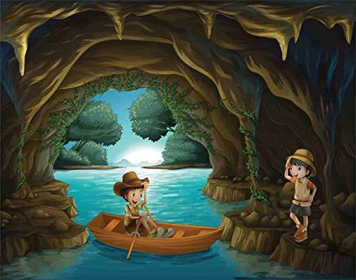 Y·JIANG Pintura de dibujos animados por números, niña y niño en una cueva Explore DIY lienzo acrílico pintura al óleo por números para adultos niños decoración de la pared del hogar, 40,6 x 50,8 cm