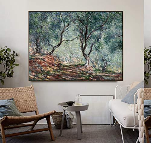 Leinwand druck bild Olivenbaum im Moreno-Garten von Monet Poster drucken Leinwand druck bild Kalligraphie Wandbilder für Wohnzimmer Schlafzimmer Wohnkultur