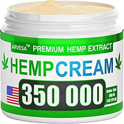 Hemp Pain Relief Cream - 350 000 Blend - Natural Hemp Extract Relieves Inflammation, Knee, Muscle, Joint & Back Pain - Contains Arnica, MSM & EMU Oil - Non-GMO - Made in USA by Arvesa