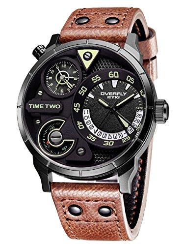 Alienwork Herren-Armbanduhr Quarz schwarz mit Lederarmband braun Kalender Datum Multi Zeitzonen XL Über-große