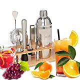 AIWITHPM Cocktail Shaker Set Bartender Kit-with Stylish Bamboo Frame 10-Piece Bar Set, 750ml Stainless Steel Martini Shaker Family Party Essential(Silver)