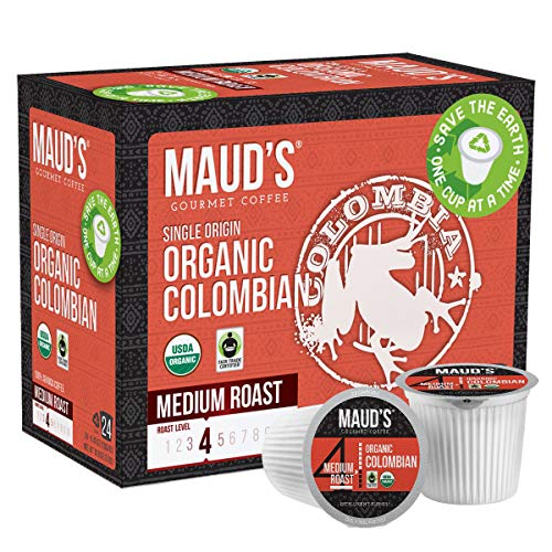 Maud's Organic Colombian Coffee (Organic Medium Roast Coffee), 24ct. Solar Energy Produced Recyclable Single Serve Fair Trade Single Origin Organic Coffee Pods - 100% Arabica Coffee, KCup Compatible