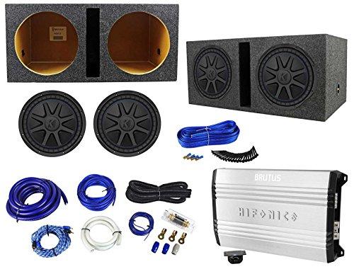 """2 Kicker 44CVX124 Comp VX CVX 12"""" 1500w Subwoofers+Hifonics Amp+Vented Box+Wires"""