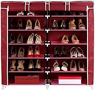 BUCKETLIST® Multipurpose Collapsible Shoe Rack/Wardrobe/Book Case/Shoe Stand with Cover 12 Layer Non-woven Fabric Stainles...