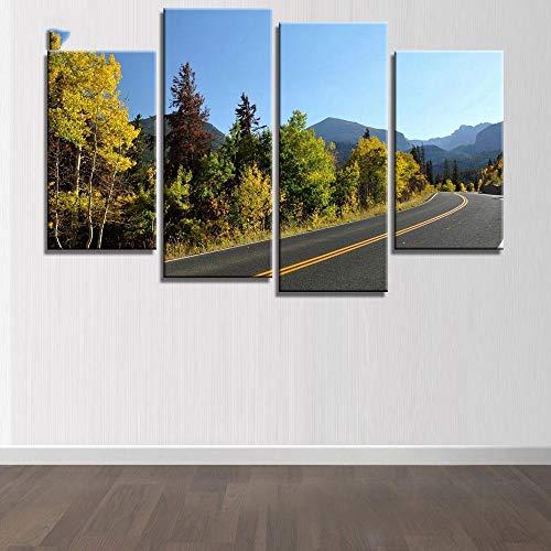 ANTAIBM® 4 Leinwandmalerei HD-Druck Holzrahmen - verschiedene Größen - verschiedene Stile4 PCS Hochwertige Leinwand Wandkunst Malerei Wald Landschaft und Straßenbilder für Wohnzimmer Leinwand Poster