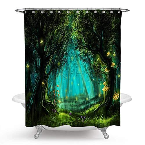 JOOCAR Design Duschvorhang, Zauberwald, Baum, magisch, Märchen, Wald, Baum, romantisch, wasserdichter Stoff, Badezimmerdekor-Set mit Haken