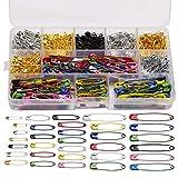 BOSSTER Sicherheitsnadeln 500 stück Metall Calabash Pins Mehrfarbig mit Aufbewahrungsbox für Bekleidung Basteln und DIY
