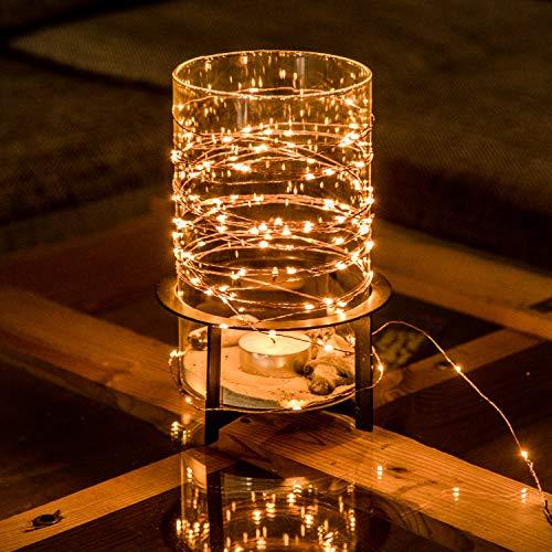 Kupferdraht 100er LED Lichterkette Batterie für innen und außen – 12 Meter Lichterkette mit Timer | IP44 wasserdicht | 100 LEDs warm-weiß | Kupfer Draht Lichterketten batteriebetrieben von CozyHome