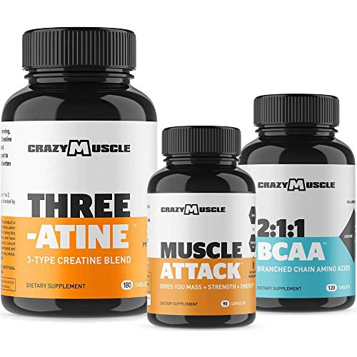 Beginner Bodybuilding Stack (4 Supplement Bundle) by Crazy Muscle: Kick Start Your Home or Gym Workout Regimen - Muscular Growth Stacks & Bundles Can Be Used PreWorkout/PostWorkout - 390 Pills Pack
