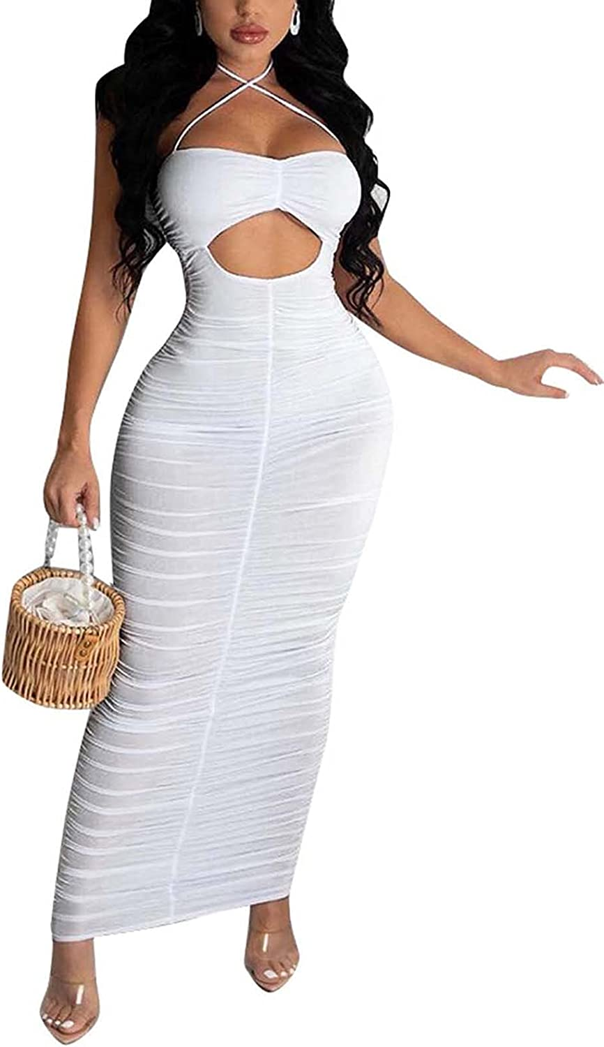 Women's Sexy Club Dress Solid Color Sleeveless Criss Cross Spaghetti Strap Hollow Out Bodycon Ruched Maxi Dress