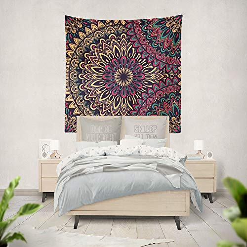 KHKJ Tapiz de Mandala Indio, Manta de Tela, Alfombra, decoración de Pared, decoración de habitación Colgante, Revestimiento de Paredes, Dormitorio A12, 200x180cm