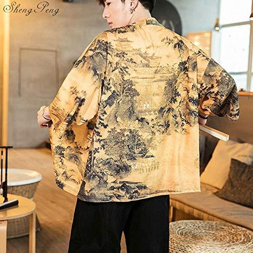 SYXYSM Japonés Kimono Hombres Chaqueta De Punto For Hombre De La Chaqueta Masculina Haori Samurai Ropa Traje De Kimono Yukata Kimono Yukata Haori Camisa (Color : 3, Size : 5XL)