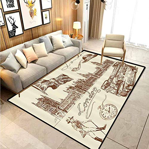 London Decor Collection Outdoor Rug Rugs Bathroom Rugs Area Rugs Sketch of National British Emblems Big Ben Houses of Parliament Bus Flag Image Desk mat for Carpet Sienna White 4 x 6 Ft