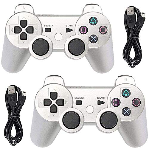 Tidoom Playstation 3 Controller PS3 Controller Wireless Bluetooth Gamepad Compatible for PS3 Remote Controller with Charging Cables Silver 2 Pack