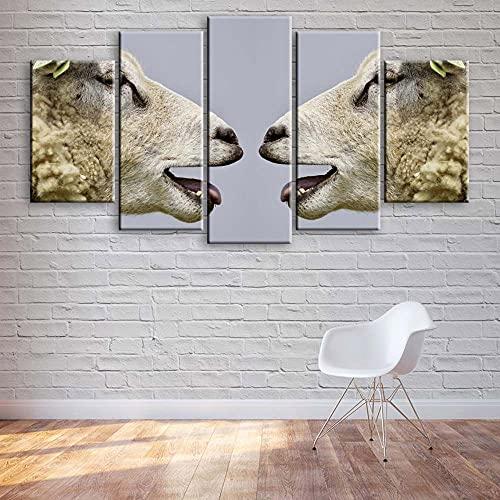 VYQDTNR Cuadro sobre Lienzo 5 Piezas Impresión En Lienzo Oveja Divertida Cuadro de Pintura Póster de Arte Moderno Oficina Sala de Estar o Dormitorio Decoración del Hogar Arte