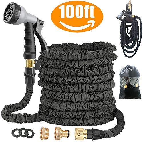 Avyvi Expandable Garden Hose Pipe,Flexible Expanding Magic Hose With Multi Spray Watering Gun/Storage Bag/Hose Hanger,Fashion Brass Fittings Water Hosepipe (100FT)