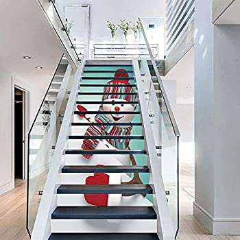 FLFK 3D Linda Monigote de nieve auto-adhesivos Pegatinas de Escalera pared pintura vinilo Escalera calcomanía Navidad Hogar Decoración 39.3 pulgadas x7.08 pulgadas X 13Piezas: Amazon.es: Bricolaje y herramientas