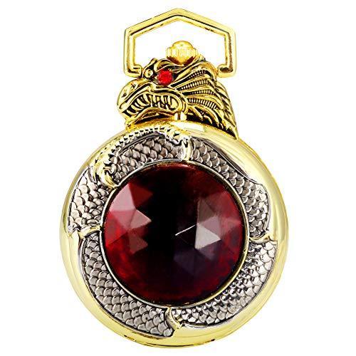 Reloj de bolsillo con caja dorada única con rubí para hombre, de alta calidad con cadena de reloj de bolsillo para mujer, estilo vintage con colgante de cuarzo para hombres