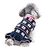 kyeese Dog Sweaters for Small Dogs Turtleneck Dog Sweater Dress Knit Pullover Warm