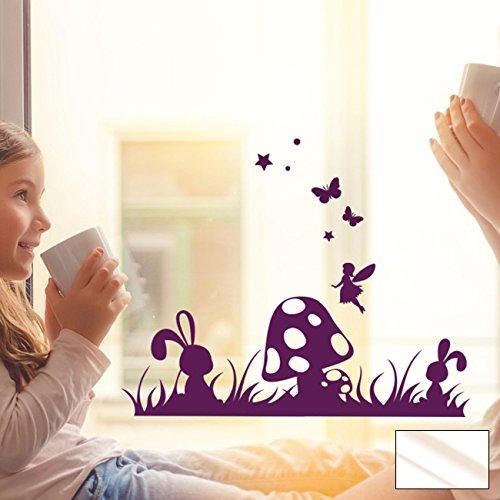 Fensterbild Wandtattoo Wiese Pilz Hase Schmetterling Fensteraufkleber Wandbild M2098 - ausgewählte Farbe: *milchglas* ausgewählte Größe: *XL - 70cm breit x 54cm hoch*