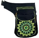 Guru-Shop Stoff Sidebag & Gürteltasche Mandala, Goa Gürteltasche, Bauchtasche - Lemon, Herren/Damen, Schwarz, Baumwolle, Size:One Size, Festival- Bauchtasche Hippie