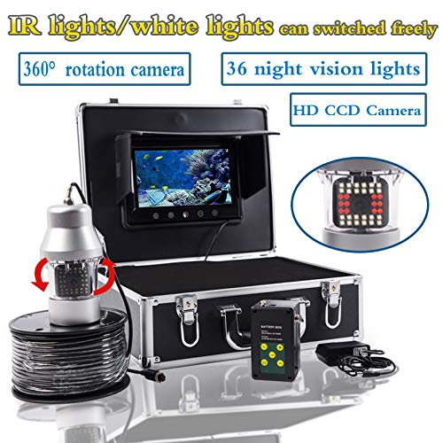 WG 20m / 50m / 100m Kabelkamera Fischfinder 1000TVL Unterwasserfischerkamera 36 LEDs 360 Grad 7 Zoll LCD Monitor drehbar,50M