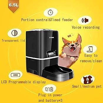 SIYINMM Distributeur Automatique de Nourriture pour Chats et Chiens Animaux de Croquettes Enregistrement Vocal Programmable de LCD Écran 4 Repas/Jour (6.5L,Noir)