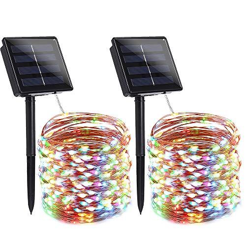 Qedertek 2 Pezzi Luci Natale Esterno Solare, Luci Albero di Natale 22M 200 LED, Luci Natalizie da Esterno con Filo di Rame Impermeabile, Luci Colorate Addobbi Natalizi, Luci Decorazioni Natalizie