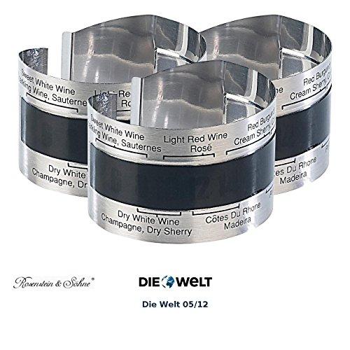Rosenstein & Söhne Flaschenthermometer: Praktisches Flaschen-Thermometer für Wein, Sekt, Saft u.v.m, 3er-Set (Temperaturmesser für Weinflasche)